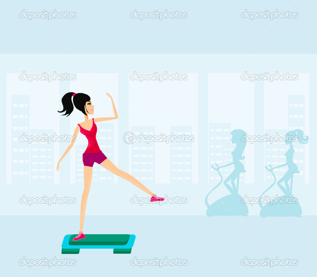 Exercise on aerobic step