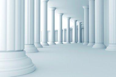 Pillars in corridor
