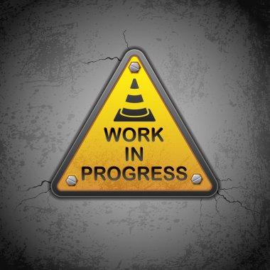 Vector illustration of work in progress board hanging on wall stock vector