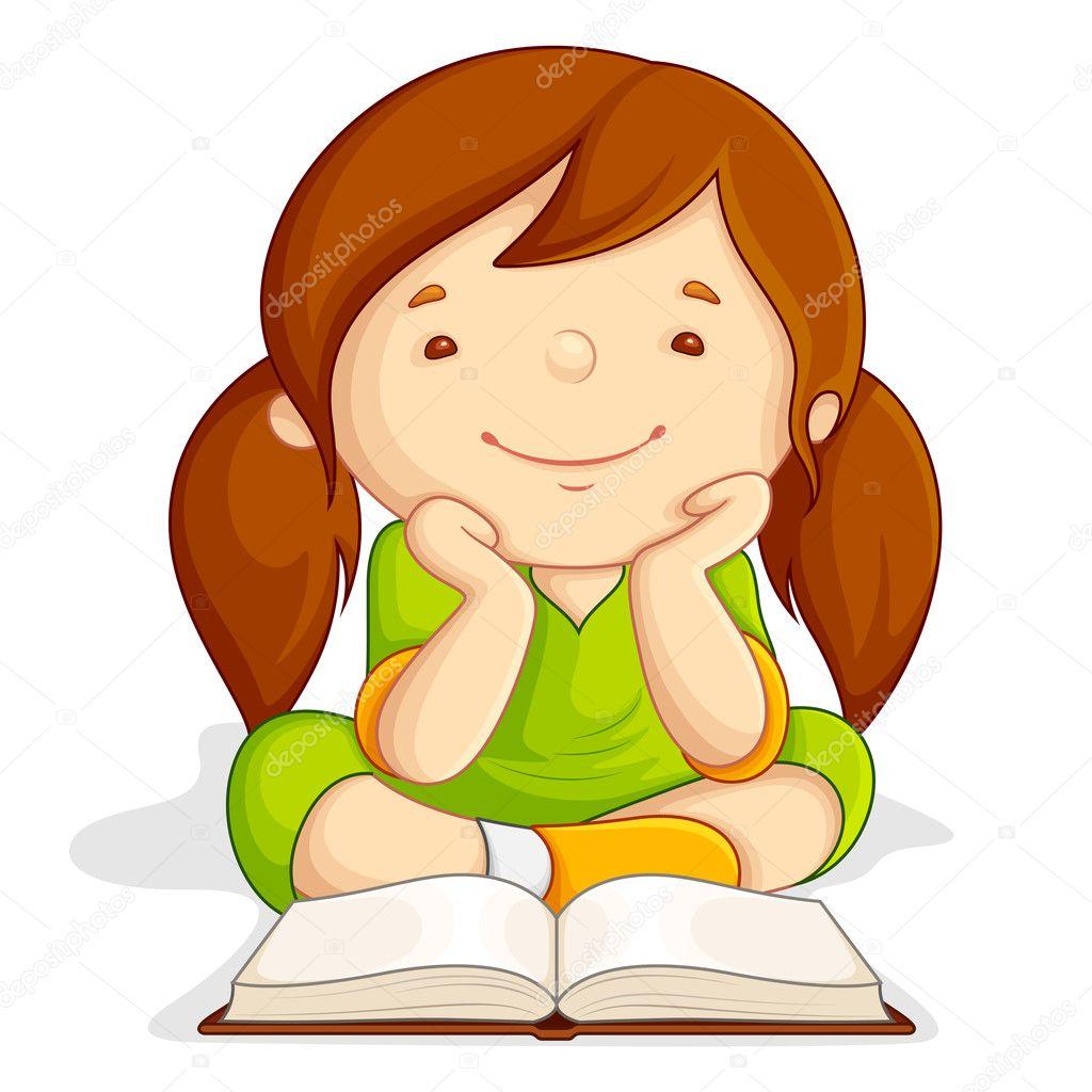 Girl Reading Open Book Stock Vector C Stockshoppe 11450801