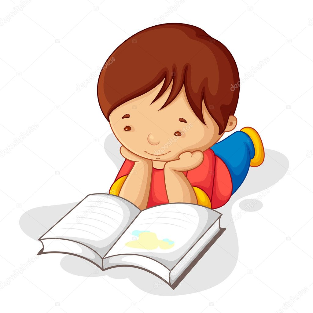Boy Reading Book — Stock Vector © stockshoppe #11506586