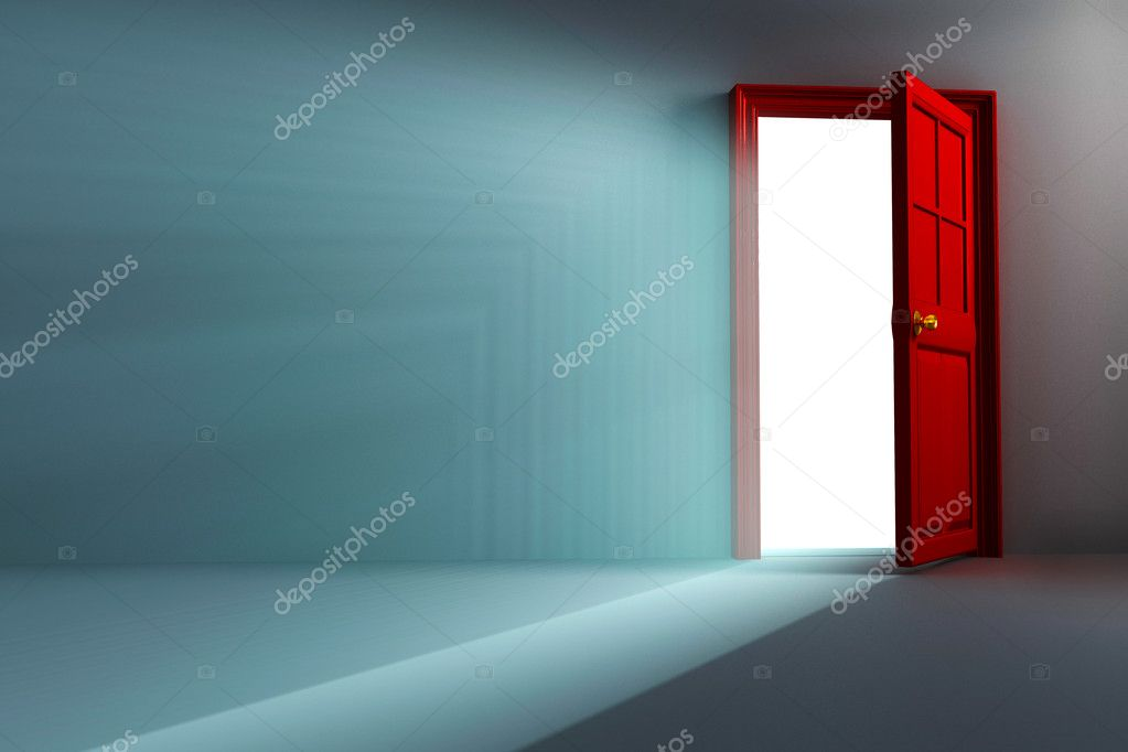 Illustration of 3d image of light coming out open door stock vector
