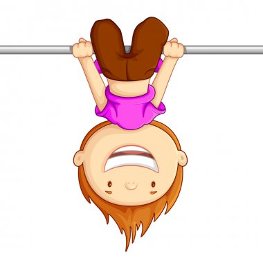 Vector illustration of kid hanging against white background stock vector