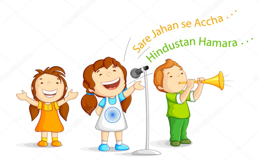 Vector illustration of kids singing Indian patriotic song stock vector