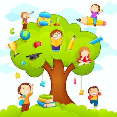 Vector illustration of kids studying on education tree stock vector