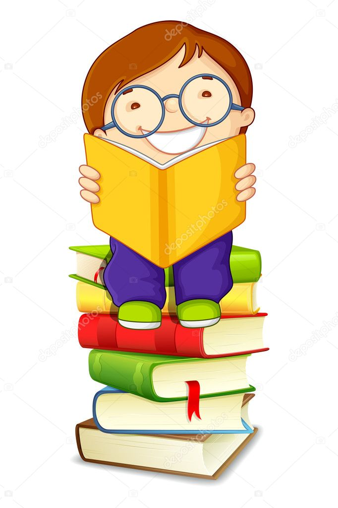 Boy Reading on Pile of Books — Stock Vector © stockshoppe ...