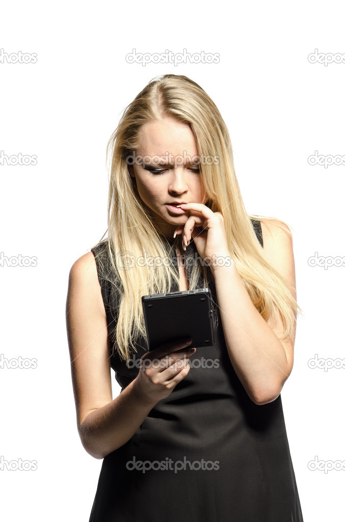 Woman in black reads e-reader