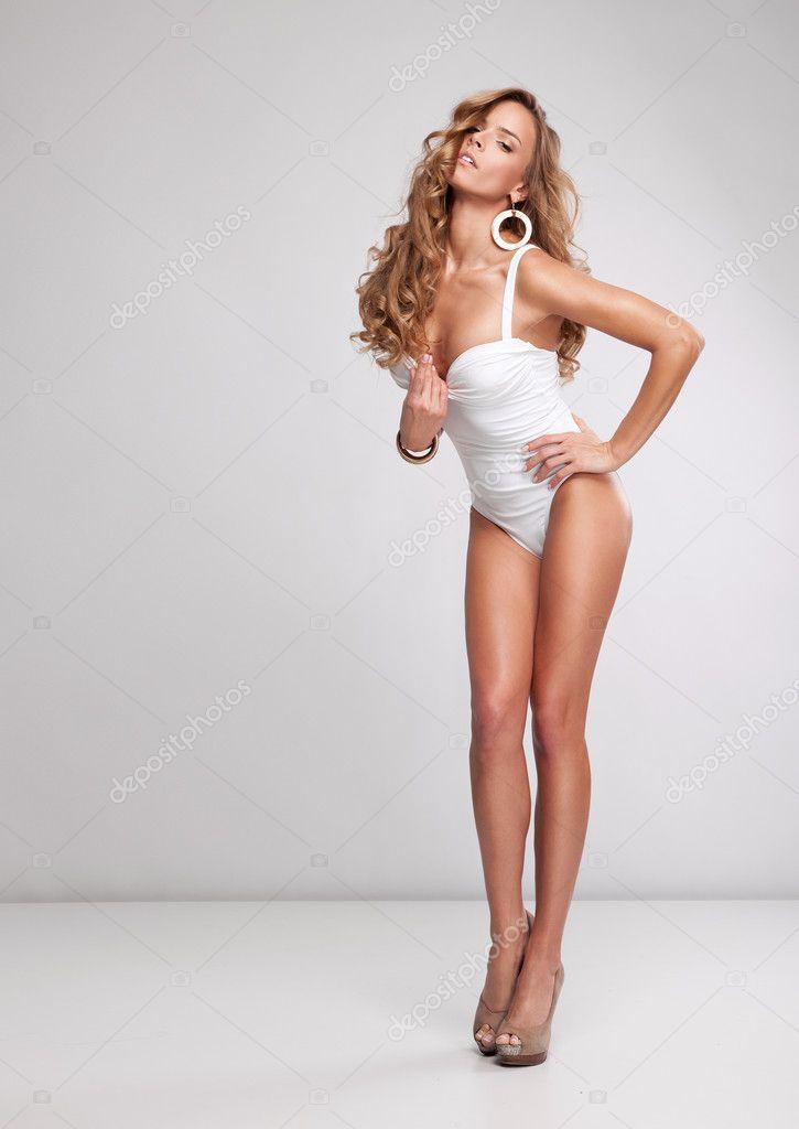 Beautiful blonde woman in swimsuit