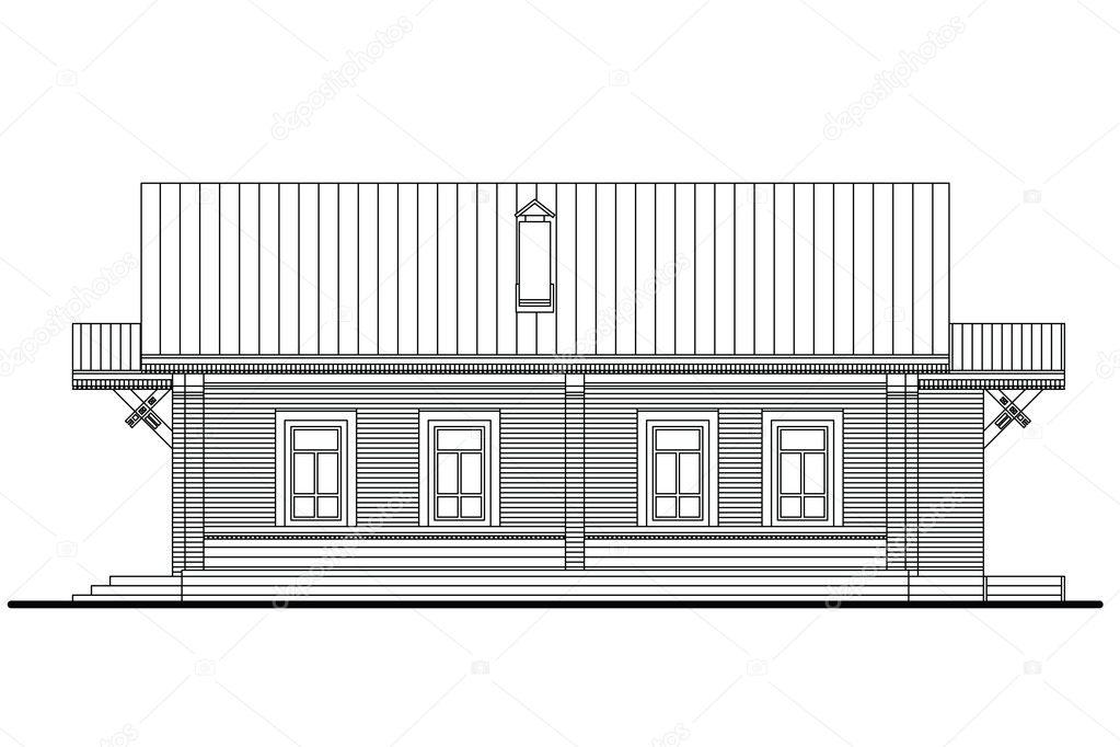 Faade Latrale De La Petite Maison En Bois Avec Quatre Fentres