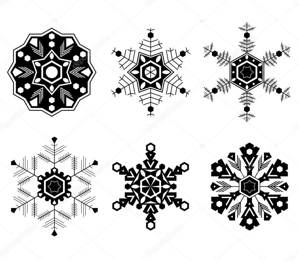 stet sechs verschiedene arten von schneeflocken stockvektor tairen10 11748759. Black Bedroom Furniture Sets. Home Design Ideas