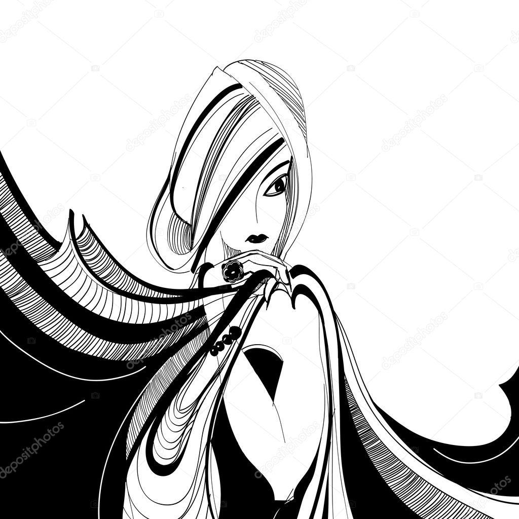 Stylises Dessin Noir Et Blanc De Belle Fille Avec Foulard Image
