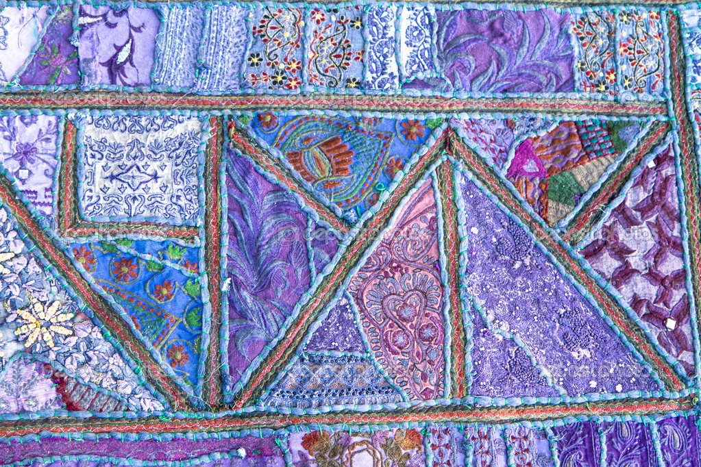 Handmade Patchwork Quilt From India Stock Photo