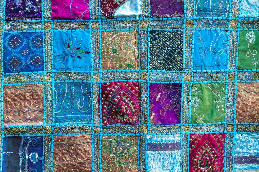 Handmade patchwork quilt from India — Stock Photo © haraldmuc ... : quilt india - Adamdwight.com