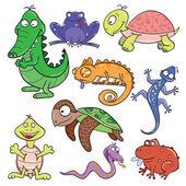 Reptiles and amphibians doodle icon set