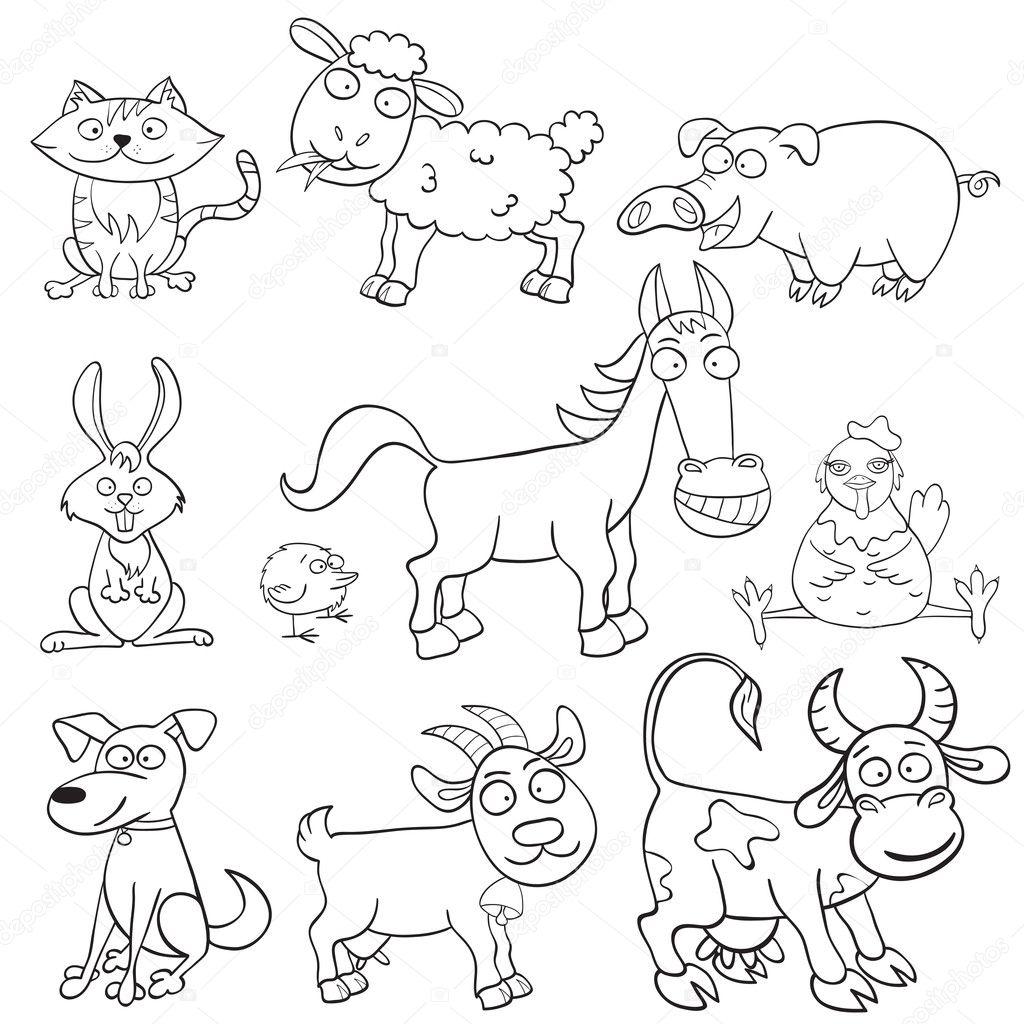 libro para colorear con animales de granja — Archivo Imágenes ...