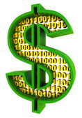 Photo Sign dollar. Digital money concept.