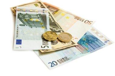 Dollars Euro Turkish lira and Czech money