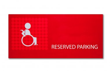 The Sign of reserved parking for handicap isolated on white back