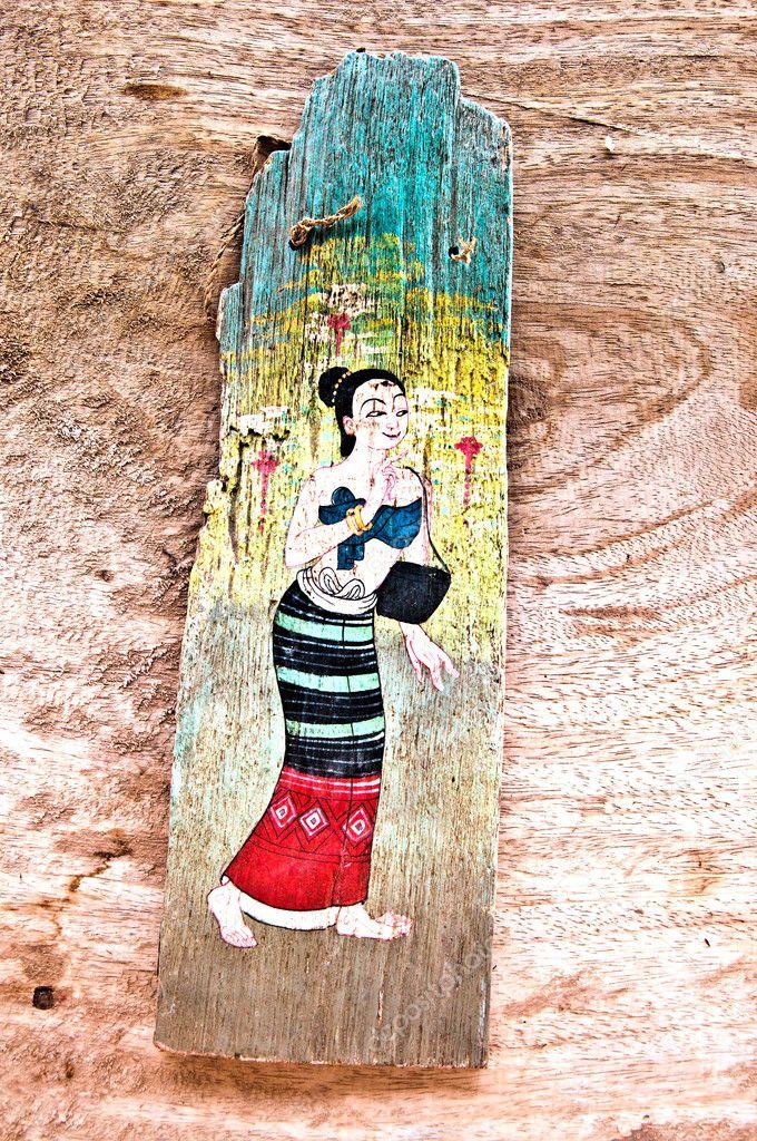 Spiksplinternieuw De oude schilderen op hout geïsoleerd op hout achtergrond FV-02