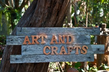 The Word of art and crafts on old wood