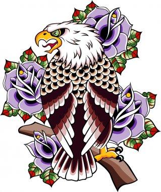 Eagle rose tattoo