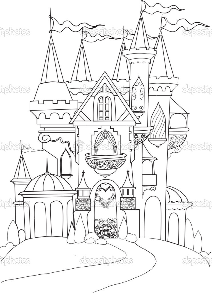 Farbe-Buch-Palast-Märchen — Stockvektor © Matreshka #10774474