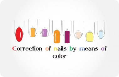 Correction of nails by means of color