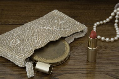 1920s Beaded Pearl Purse, Vintage Powder Compact, and Pearls