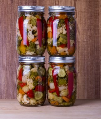 Mixed vegetables preserved in jars