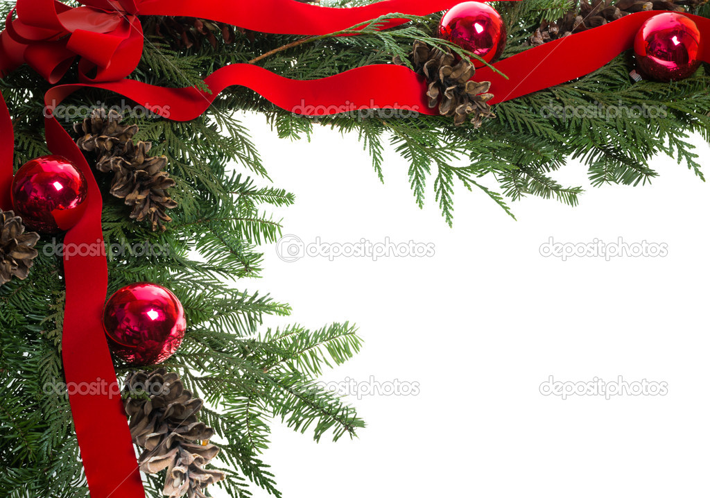 Christmas corner border with red bow — Stock Photo ...