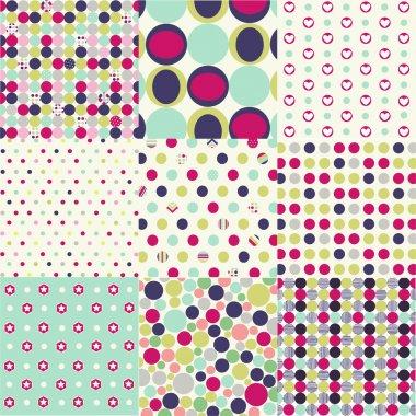 Seamless patterns, polka dot set