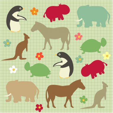 Seamless pattern for kids, abstract natural animal pattern
