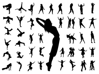 Silhouette jumping dance