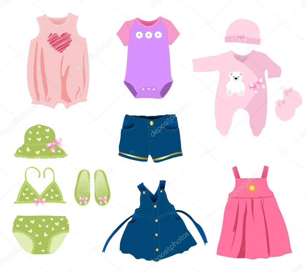 Baby Girl Elements , Clothes Stock Vector Lemony #11237033
