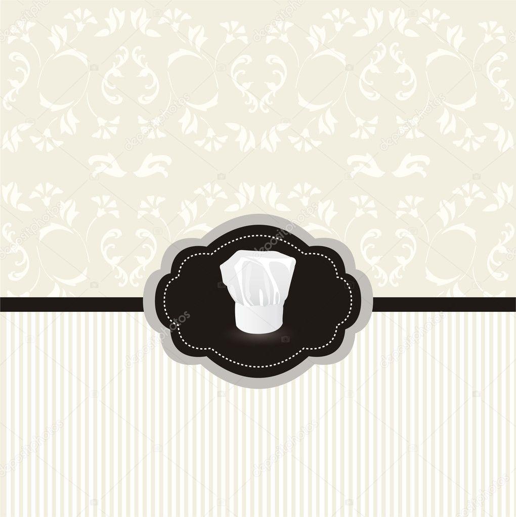 tarjeta de diseño vintage con marco del sombrero de cocinero ...