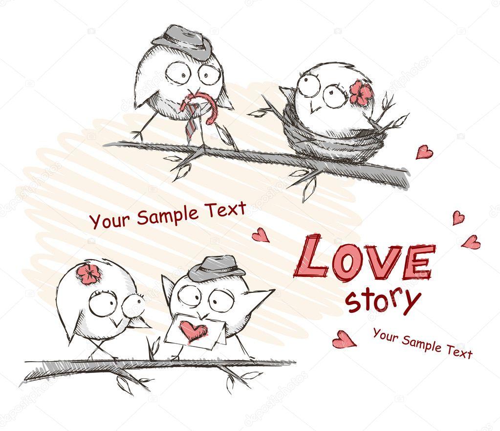 Spring, love birds sitting on a tree.