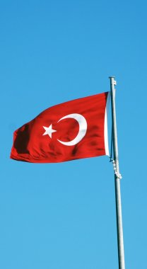 Turkish flag on the flagpole