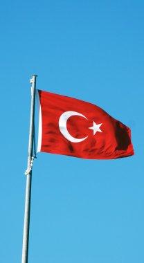 Turkish flag on the flagpole