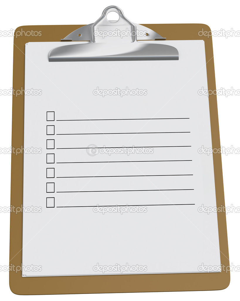 photo regarding Blank Checklist named Clipboard with blank record upon a white history Inventory