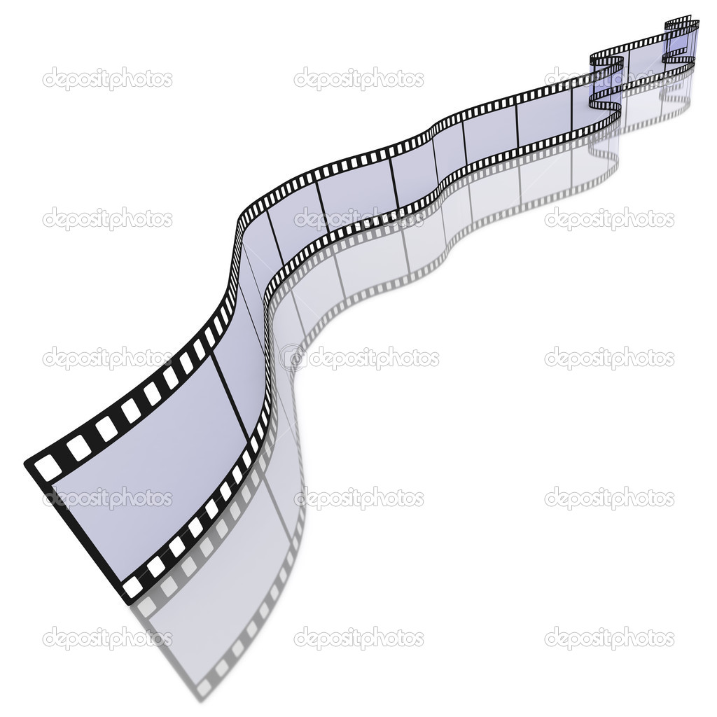 Long curly blank film strip 35mm transparency