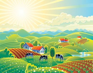 Vector illustration. Rural summer landscape. A lot of details: the flowers and hills, cows and garden. Bright colors for the transfer of the summer mood. stock vector