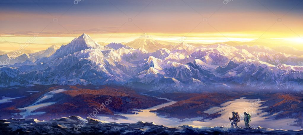 Winter landscape and skiers - the tourists.