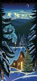 zimní Lesní krajina s chýši a vánoční tre