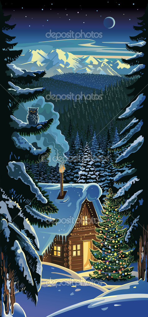 Winter forest landscape, with a hut and Christmas tre