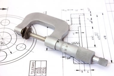 Micrometer on technical drawing. Horizontal