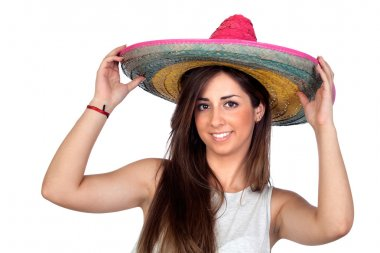 Atractive girl with a mexican hat