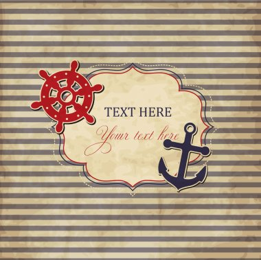 Vintage scrap nautical card with frame