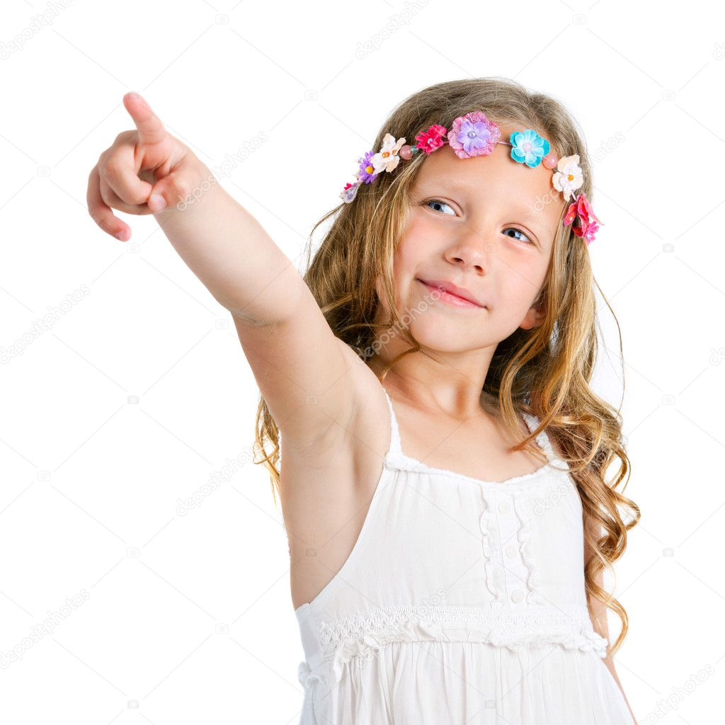 Cute girl pointing with finger. — Stock Photo © karelnoppe ... Cute Baby Pointing Finger