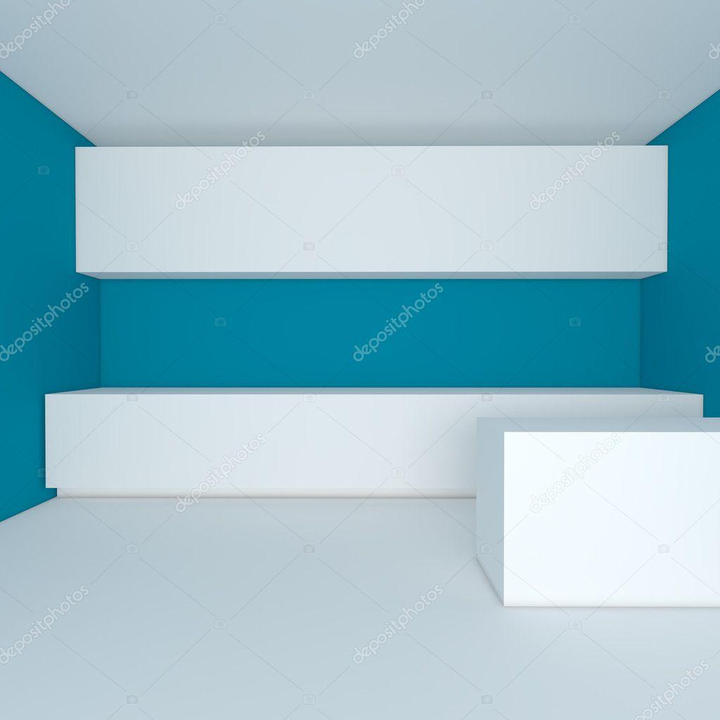 Leere Interior Design Für Küche Zimmer Mit Blauen Wand U2014 Foto Von ...