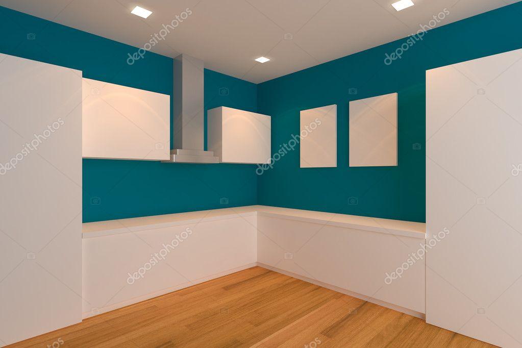 Elegant Leere Interior Design Für Küche Zimmer Mit Blauen Wand U2014 Foto Von ...